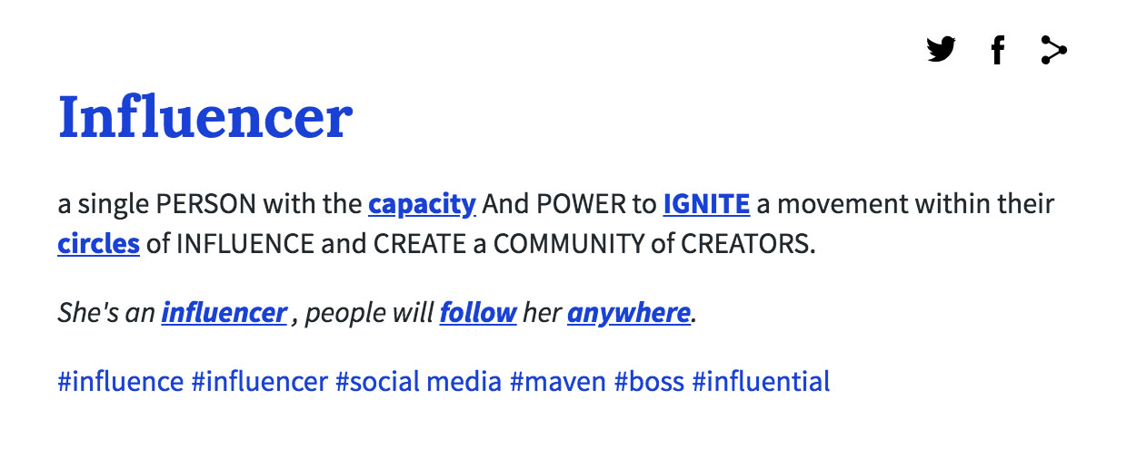 screenshot of definition of influencer