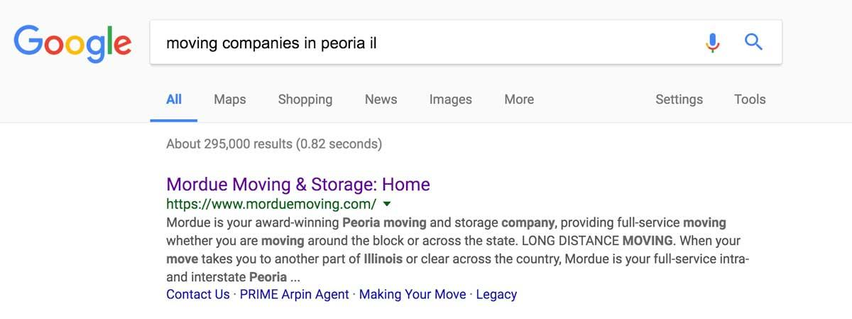 mordue moving search engine optimization example done by mcdaniels marketing