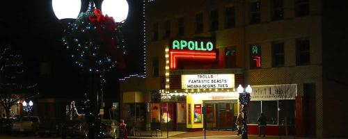 exterior shot of the apollo theatre in princeton illinois