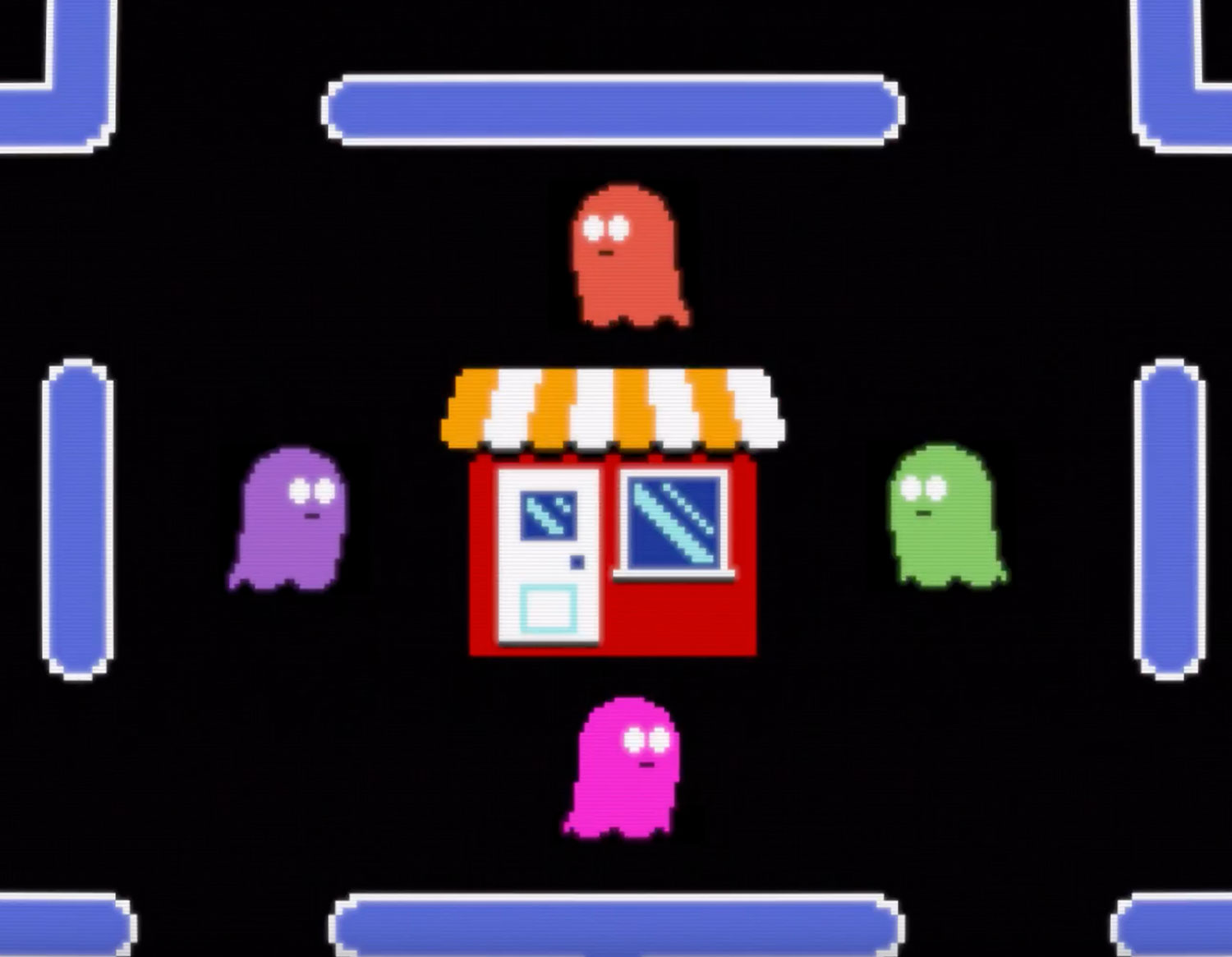 pac man style video game with pixelated shop in the middle